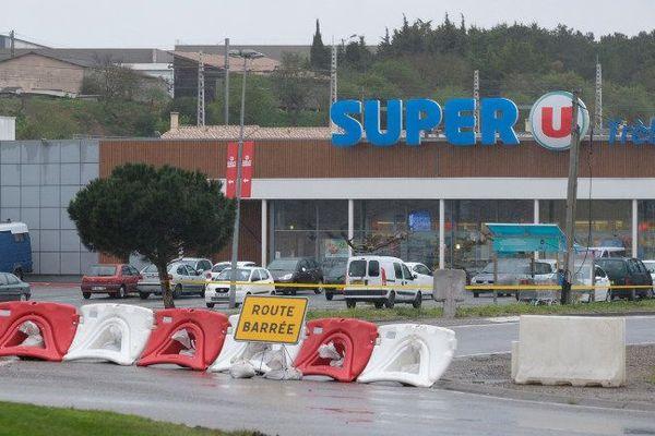 Le supermarché à Trèbes, près de Carcassonne dans l'Aude, où à eu lieu la prise d'otage le 23 mars 2018