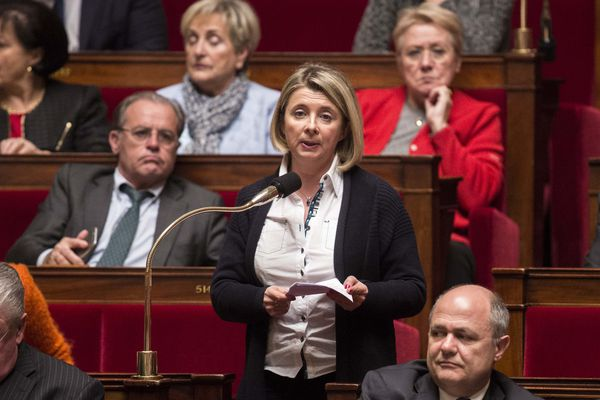 Corinne Erhel, députée PS, à l'Assemblée Nationale lors de la séance de questions au gouvernement - 13/01/2016.