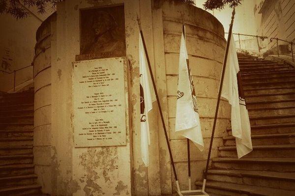 La Corse compte de nombreuses plaques et bustes rendant hommage à Pascal Paoli. Ici celle de Bastia, en Haute-Corse