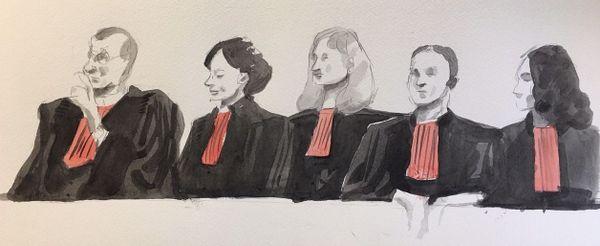 Des dizaines d'avocats en robe noire arboraient le rabat rouge pour manifester leur colère au début de l'audience.