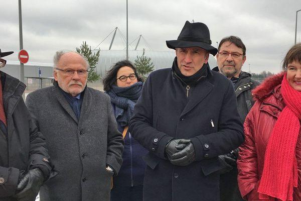 Yvon Robert, maire de Rouen, Marc Massion, maire de Grand-Quevilly, Frédéric Sanchez, maire de Petit-Quevilly (et président de la Métropole Rouen-Normandie) et Luce Pane maire de Sotteville-lès-Rpuen