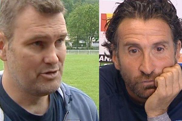 Jeremy Davidson, l'entraineur du Stade Aurillacois (à gauche), et Vincent Etcheto, l'entraineur de l'Aviron Bayonnais (à droite).