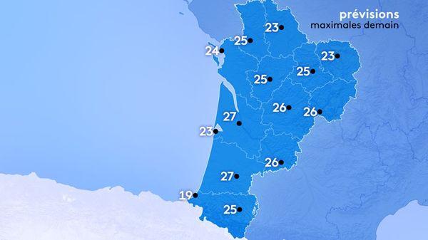 Il fera 21 degrés à Bayonne, 28 degrés à Bergerac, 26 degrés à Brive et Tulle, 24 à Rochechouart et 23 à Ussel, 24 degrés à Parthenay, 23 à Poitiers, 24 à La Rochelle et 26 degrés à Saintes.