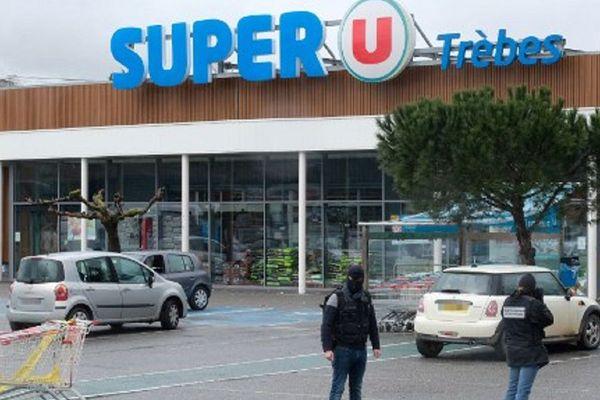 Le supermarché Super U de Trèbes où s'est déroulé le drame.