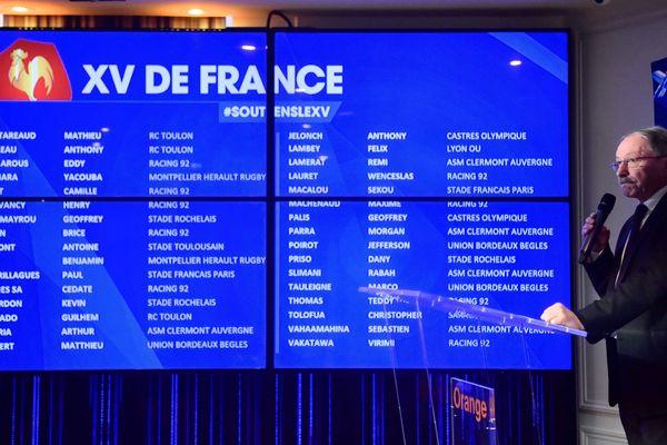 Jacques Brunel pendant de la conférence de presse de présentation de la liste des 32 joueurs sélectionnés pour préparer France - Irlande le 3 février prochain