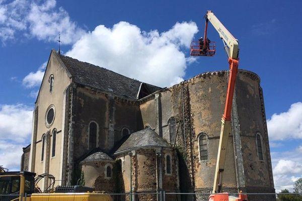 Le toit de l'église s'est effondré après la tempête Miguel