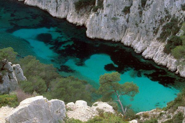 Nichée au creux de hautes falaises, la fabuleuse Calanque d'En-Vau, l'une des plus belles de Marseille.