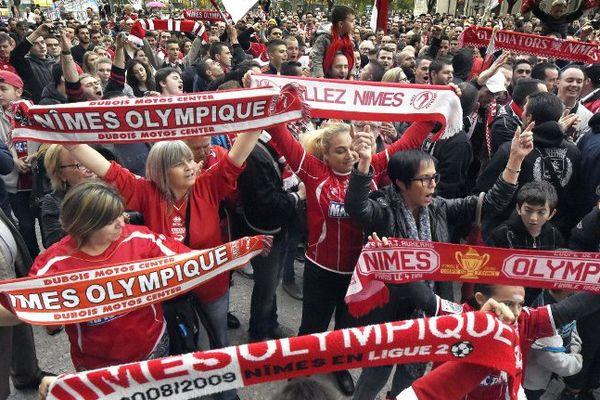 Les supporters du Nîmes Olympique en novembre 2014
