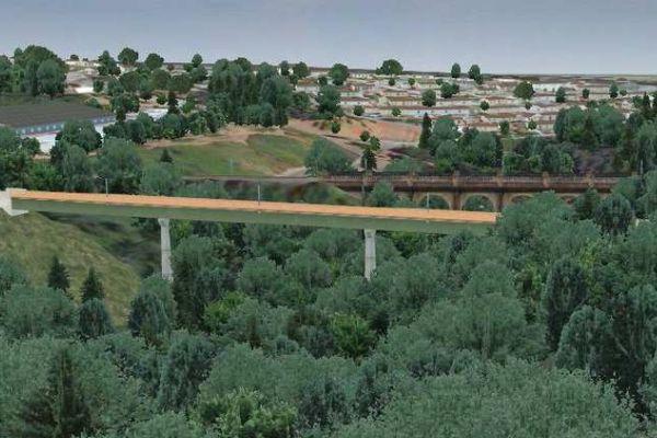 Maquette du projet LGV avec le franchissement du ruisseau du Palais-sur-Vienne (87)