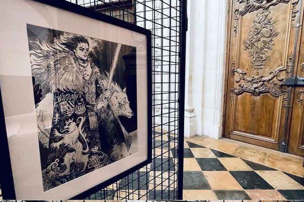 Ce dessin représente Charles Le Téméraire accompagné d'un loup