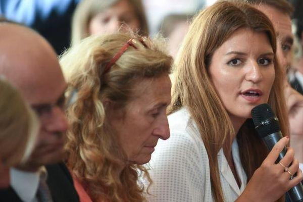 La secrétaire d'Etat chargée de l'Egalité entre les femmes et les hommes, Marlène Schiappa, lors du lancement du Grenelle des violences conjugales, le 3 septembre 2019, à Matignon.