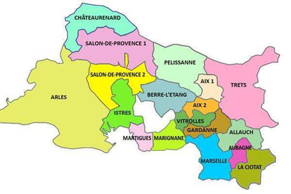 La carte des 29 cantons des Bouches-du-Rhône