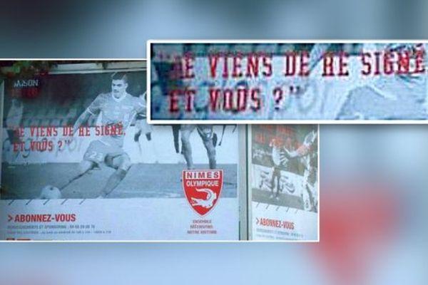 """L'affiche du Nîmes Olympique proclame """"Je viens de re signé, et vous ?"""" au lieu de """"Je viens de re signer, et vous ?"""". Août 2015."""