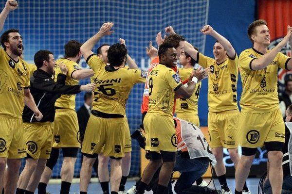 La joie des joueurs de Dunkerque au PSG ce jeudi soir.
