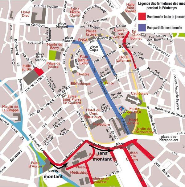 Le plan de circulation du centre ville pendant le Printemps de Bourges (Cher)