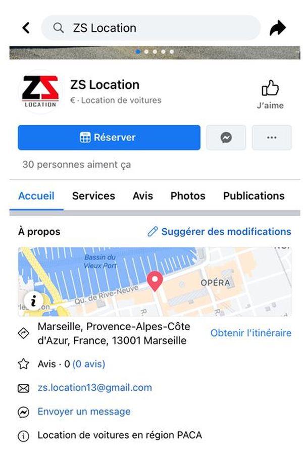 La société de location indique se trouver à Marseille.