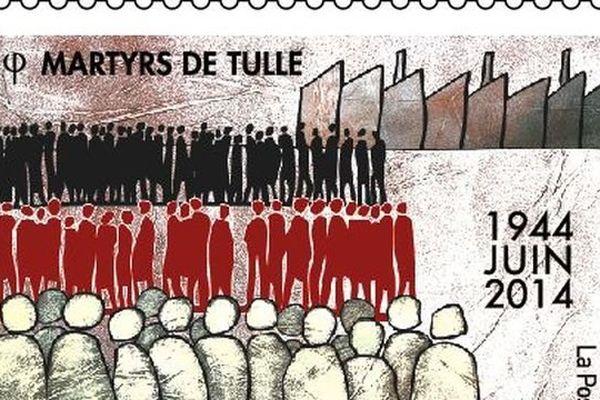 Le timbre édité par La Poste pour la commémoration des martyrs de Tulle et dévoilé le 28 avril 2014 à Boulazac ( Dordogne)