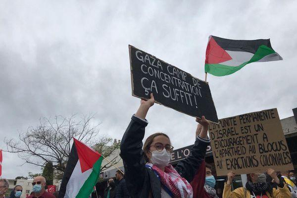 """""""Gaza, camp de concentration, ça suffit !"""", peut-on lire sur cette pancarte."""