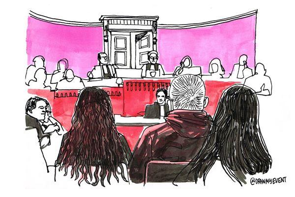 dessin de presse lors d'un procès à la cour d'assises de Haute-Garonne