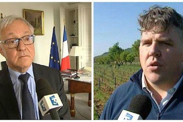 Gilbert Payet, préfet de Saône-et-Loire (à gauche) et Thibault Liger-Belair, viticulteur à Moulin-à-Vent et Nuits-Saint-Georges