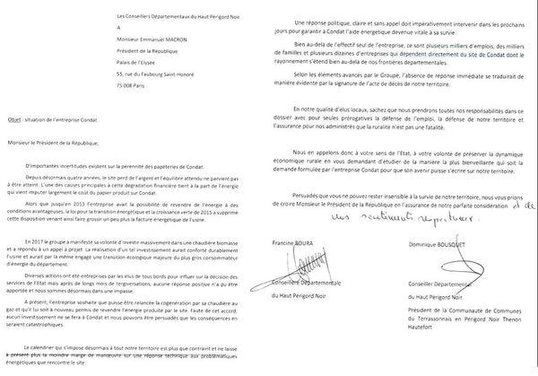 La lettre adressée par Dominique Bousquet et Francine Bourra à Emmanuel Macron pour demander un délai en faveur des papeteries de Condat