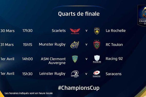 La Rochelle jouera le premier matche des quarts de finale le 30 mars 2018.