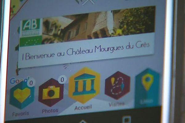 Beaucaire (Gard) - une application et des bornes numériques pour visiter les vignes du Château Mourgues du Grès - 2018.
