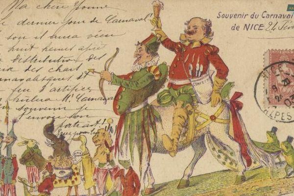 Carte postale illustrant le carnaval de Nice en 1903