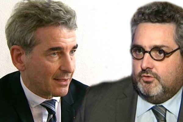 Jean-Pierre Brenas (g) est la tête de liste désignée par l'UMP pour les élections municipales à Clermont-Ferrand, Olivier Bianchi (d) a, quant à lui, été désigné par le PS.