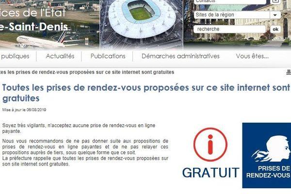 Message d'alerte sur le site internet de la préfecture de Seine-Saint-Denis