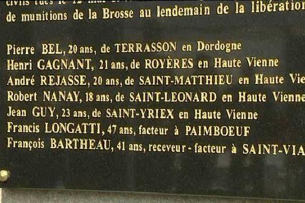 Sur la stèle inaugurée à Saint-Viaud figurent quatre noms de maquisards limousins