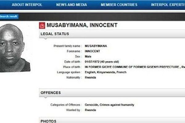 le rwandais Innocent Musabyimana est sous le coup d'une demande d'extradition de Kigali