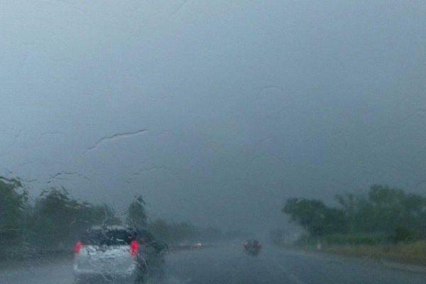 L'autoroute A9 au niveau de Montpellier sous l'orage lundi 11 juin 2018 dans l'après-midi.