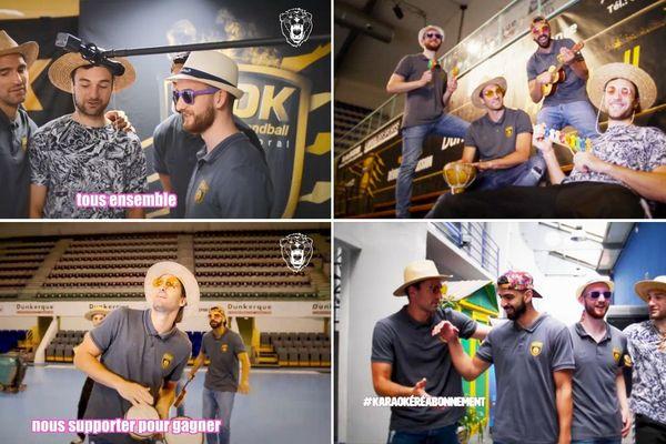Kornel Nagy, Florian Billant, Tom Pelayo et Kader Rahim parodient Gilbert Montagné pour inviter les supporters de l'USDK à s'abonner la saison prochaine.