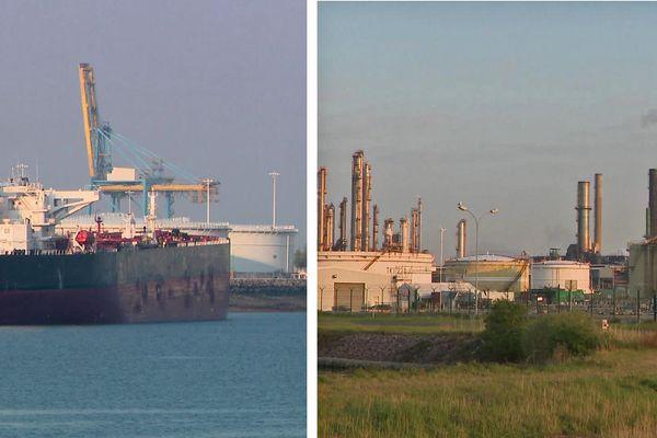 Un pétrolier dans le port du Havre et une raffinerie de Seine-Maritime (Archives)