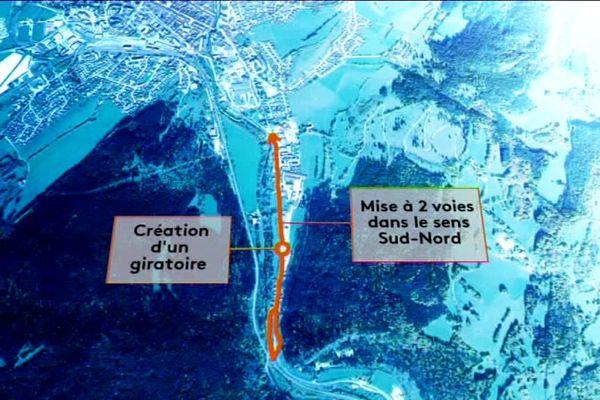 Voici une partie des plans du projet de contournement de Pontarlier via la RN 57.