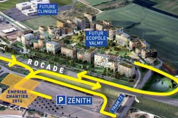 L'échangeur Écopôle Valmy-Zénith permettra de desservir la zone d'activité de Valmy et le Zénith de Dijon.