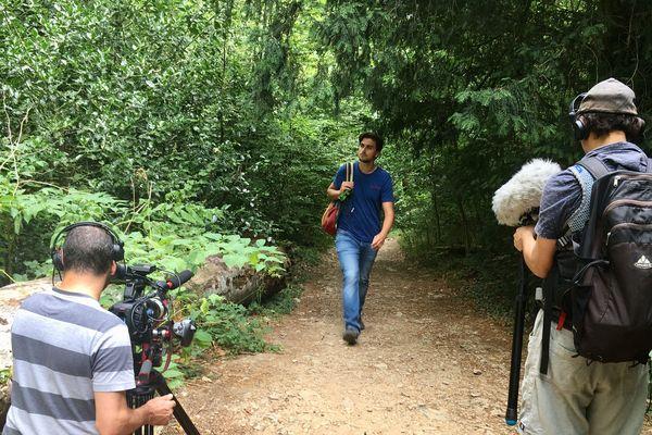 Silvan Gauthier lors du tournage Vaqui dans la forêt de la Sainte-Baume.