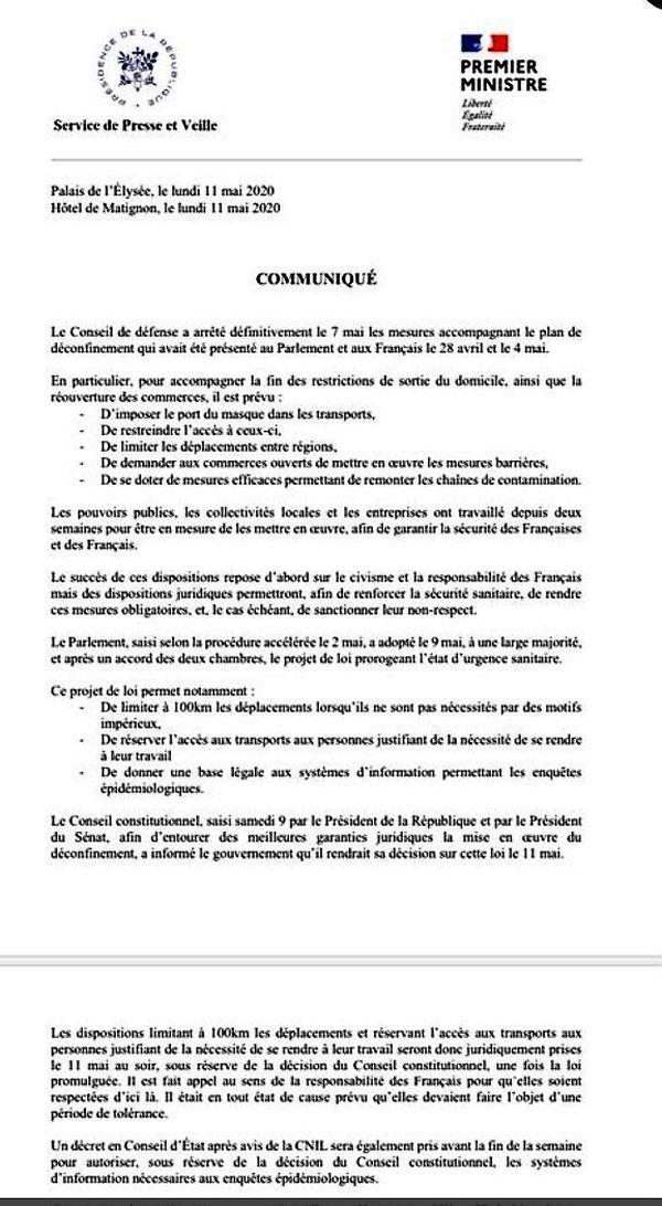 Le communiqué de presse commun émis par l'Elysée et Matignon