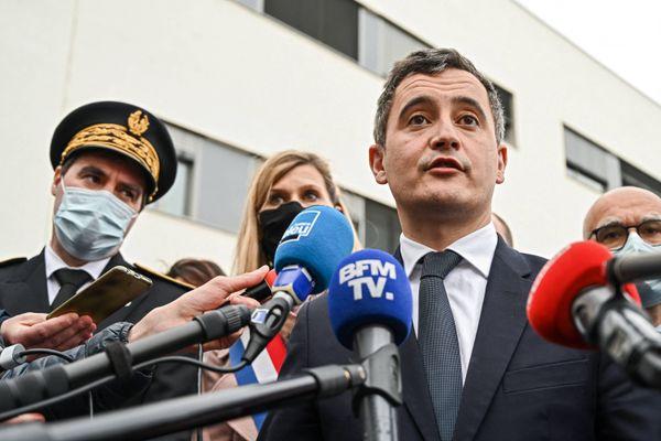 Le ministre de l'Intérieur, Gérald Darmanin, le 15 février 2021, lors de l'inauguration d'un nouveau commissariat à Annemasse en Haute-Savoie.