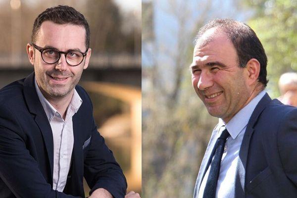 Un duel à Aire sur l'Adour entre Xavier Lagrave (à droite) maire sortant et Jérémy Marti (à gauche) conseiller municipal d'opposition.