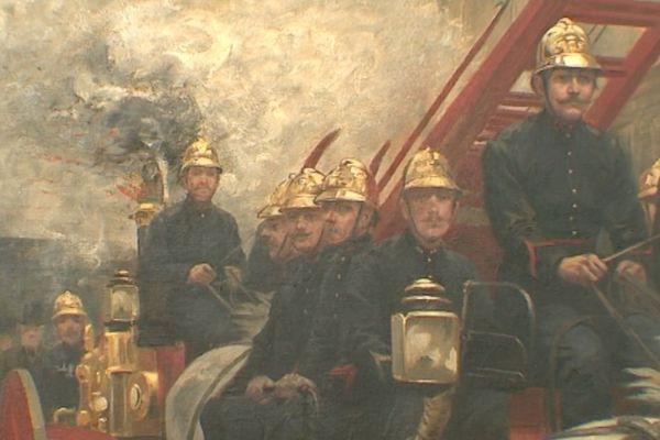 Un tableau présentant les pompiers de Paris au XIXe siècle.