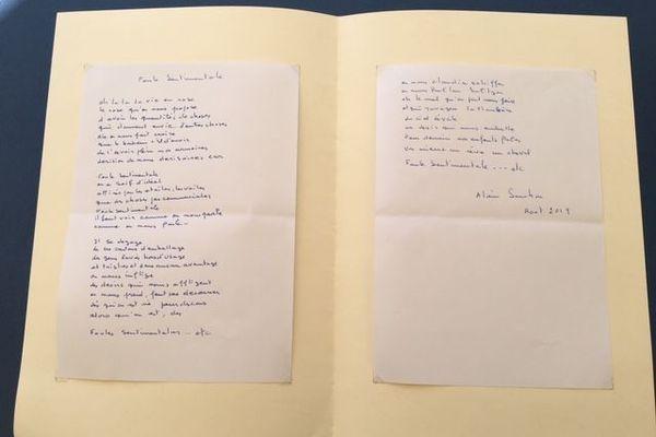 """La chanson """"Foule Sentimentale"""", rédigée à nouveau par Alain Souchon en août 2019"""