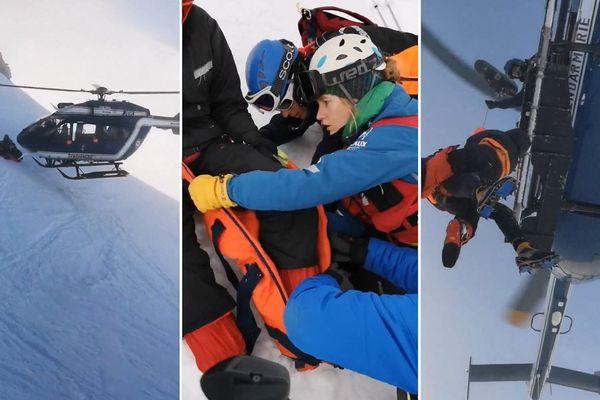 Les images du secours par le PGHM de Chamonix dans le massif du Mont-Blanc en Haute-Savoie