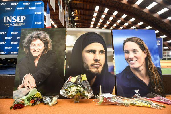 Les portraits de Florence Athaud, Alexis Vastine et Camille Muffat à l'INSEP à Paris, après le crash des deux hélicoptères entrés en collision en Argentine.