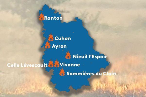 La localisation des sept départs de feu ce mardi 23 juillet 2009 dans la Vienne