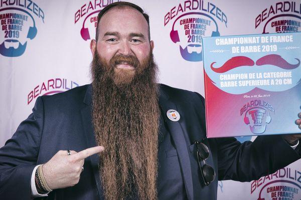 La barbe de Nikolas Godet a séduit le jury du 3e Championnat de France de Barbe, samedi 22 juin 2019, à Paris.
