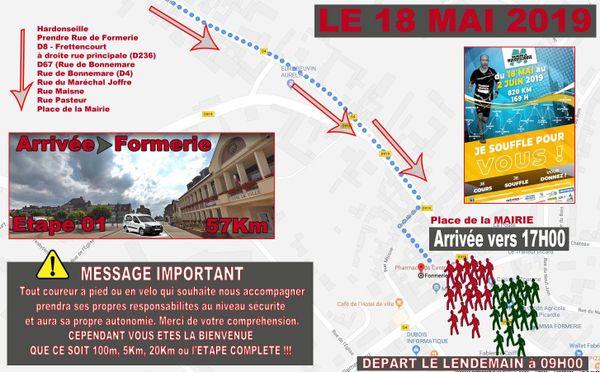 Après 57 km de course, François Blériot arrivera à Formerie ce samedi vers 17h.