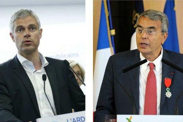 Laurent Wauquiez en conférence de presse le 24 juin, et Jean-Jack Queyranne, le 4 septembre à Annemasse (Haute-Savoie).