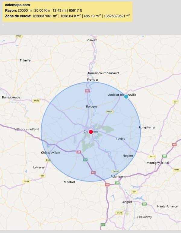 Depuis Chaumont, la carte des 20km.